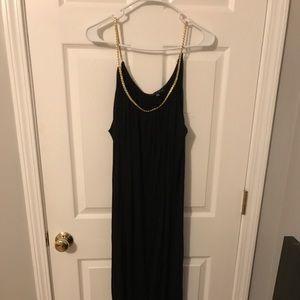 Black maxi dress with gold braided neckline